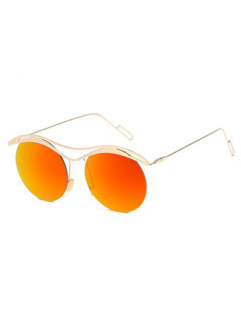 Novelty Rounded Lens Rimless Sunglasses - PAPAYA ORANGE
