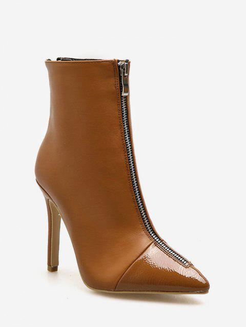 Front Zip Stiletto Heel Short Boots - LIGHT BROWN EU 39