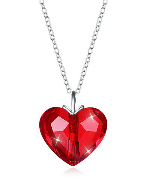 Stylish Crystal Heart Gift Necklace - RED