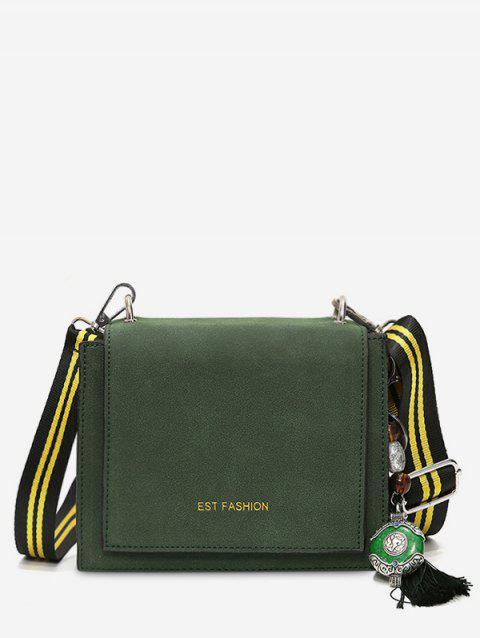Mini Tassel PU Leather Crossbody Bag - DARK GREEN