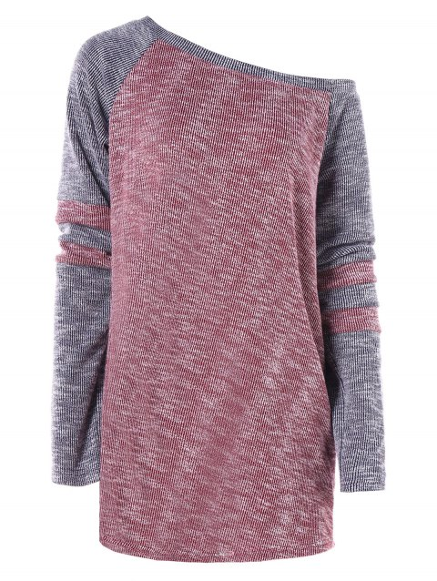 Hit Color Skew Neck Long Knitwear - RED WINE XL