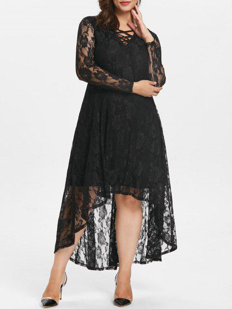 Plus Size Lace Lattice Maxi Dress - BLACK 1X