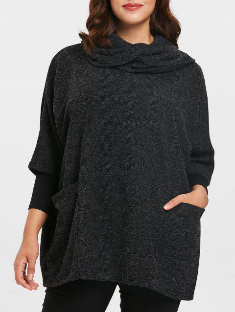 Plus Size Cowl Neck Front Pockets Pullover Coat - BLACK ONE SIZE