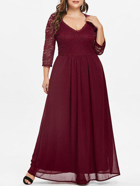Lace Sleeve Plus Size Sweetheart Neck Maxi Dress - RED WINE 4X