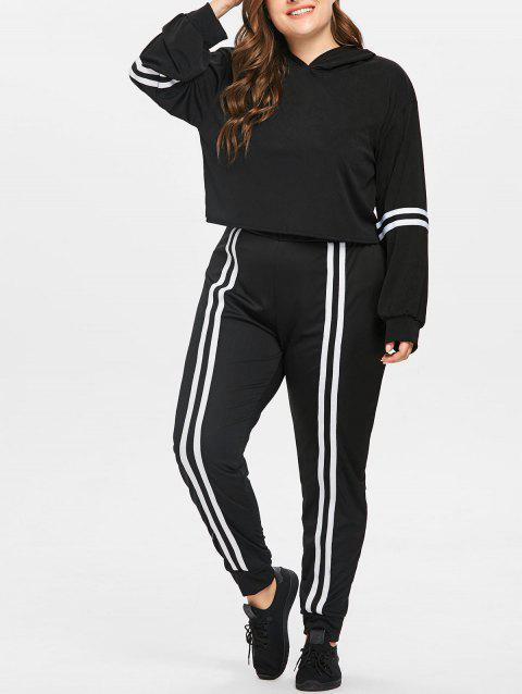Plus Size Striped Workout Suit - BLACK 3X