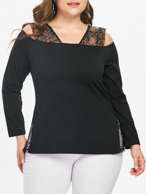 Plus Size Lace Panel Open Shoulder T-shirt - BLACK 1X