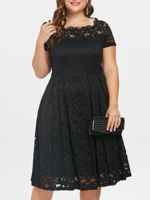 Plus Size Short Sleeve Lace A Line Dress - BLACK 1X