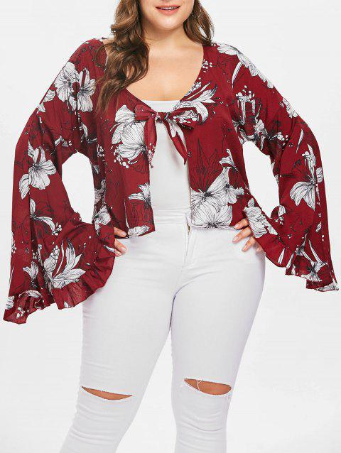 Plus Size Floral Print Flare Sleeve Blouse - RED WINE 1X