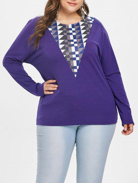 Round Neck Plus Size Geometric Pattern Panel T-shirt - PURPLE 1X