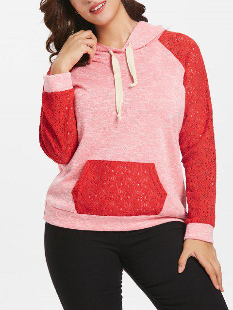 Drawstring Lace Raglan Sleeve Plus Size Hoodie - RED 1X