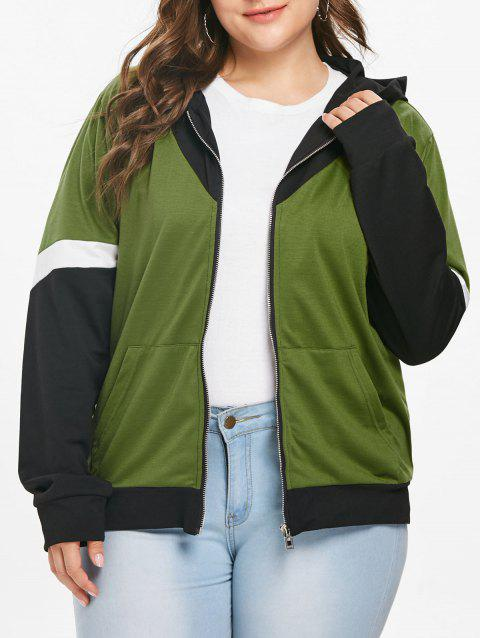 Plus Size Patchwork Zip Up Hoodie - FERN GREEN L