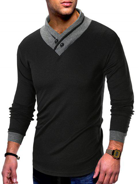 Shawl Collar Contrast Color T-shirt - BLACK L