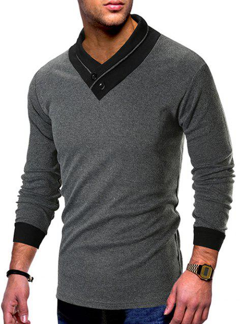 Shawl Collar Contrast Color T-shirt - LIGHT GRAY L