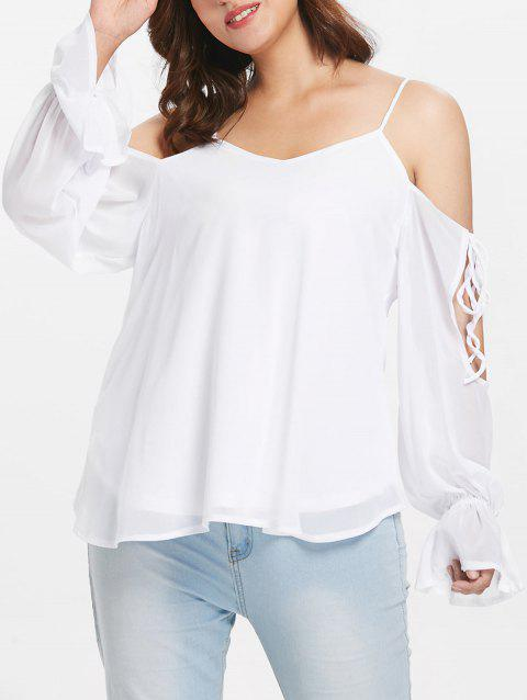 Self Tie Sleeve Plus Size Blouse - WHITE L