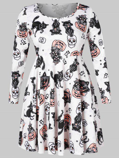 Long Sleeve Plus Size Printed Halloween A Line Dress - multicolor 3X