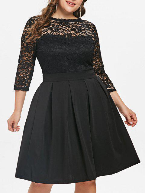 Lace Panel Plus Size Fit and Flare Dress - BLACK 1X