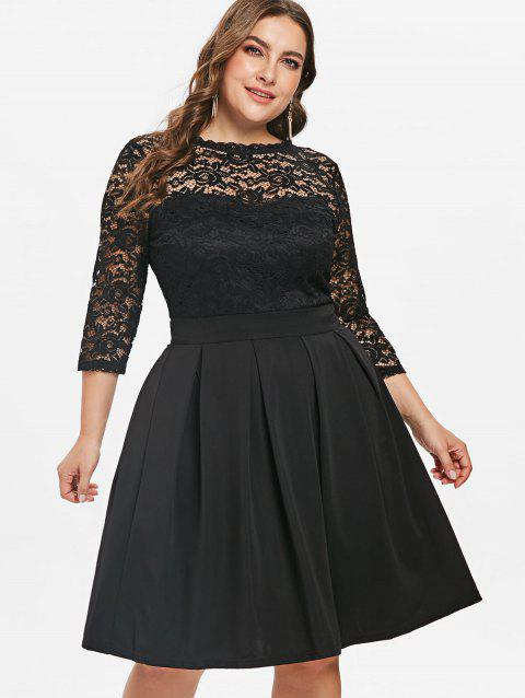5fa2b344e9 17% OFF] 2019 Lace Panel Plus Size Fit And Flare Dress In BLACK ...