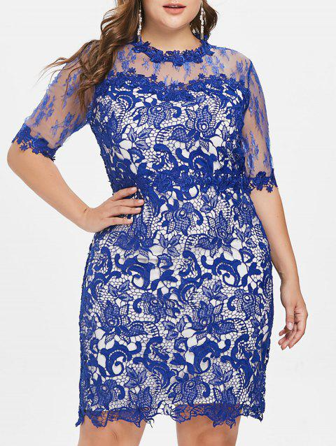 Plus Size Lace Overlay Bodycon Dress - ROYAL BLUE 1X