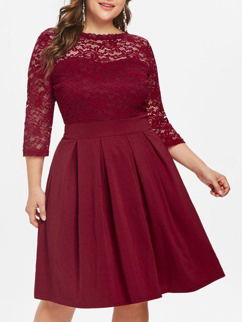 Lace Panel Plus Size Fit and Flare Dress - RED 4X