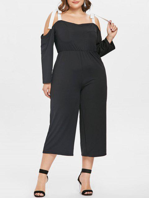 Plus Size Open Shoulder Wide Leg Jumpsuit - BLACK 2X