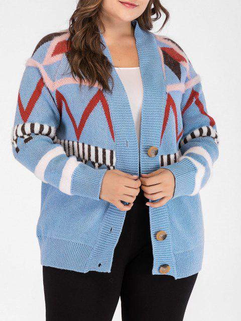 Plunge Plus Size Button Detail Cardigan - SILK BLUE ONE SIZE