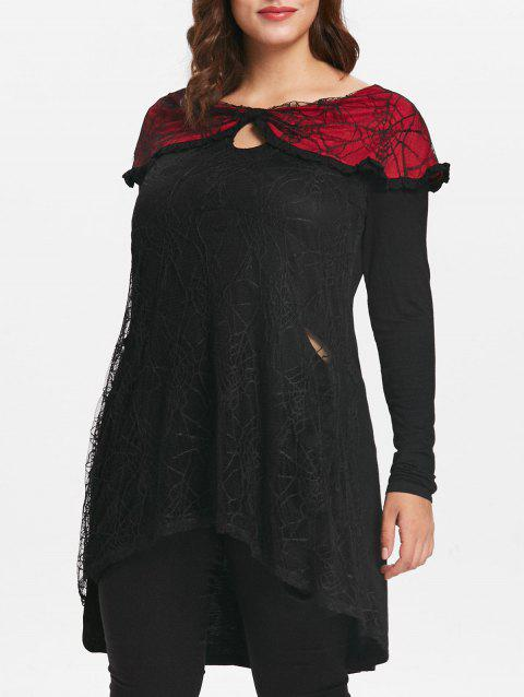 Plus Size Halloween Lace Insert Tunique Keyhole Top - Noir 4X