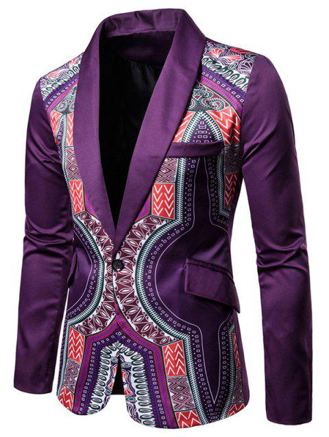 African Dashiki Shawl Collar One Button Blazer - PURPLE 2XL