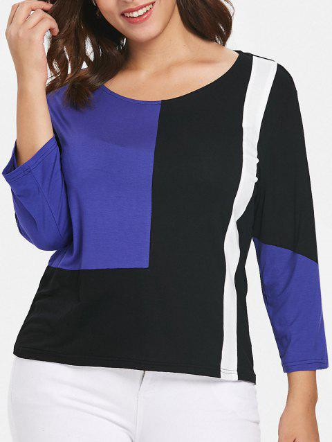 Plus Size Casual Patchwork T-shirt - COBALT BLUE 2X