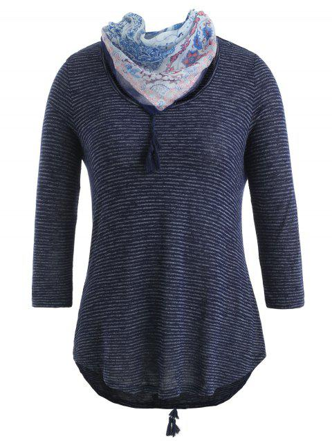 Striped T-shirt with Scarf - CADETBLUE XL