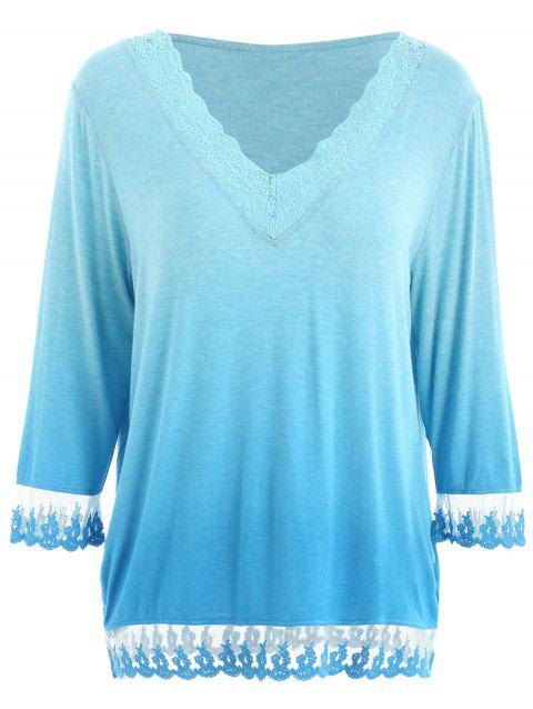 Lace Panel Ombre T-shirt - BLUE M
