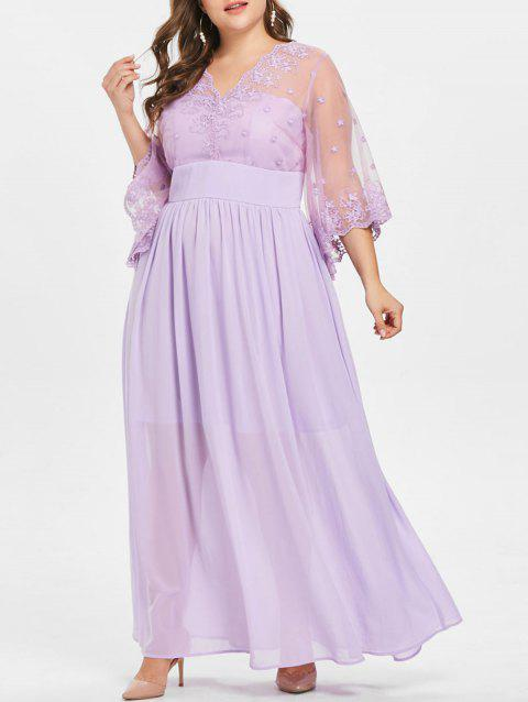 Plus Size Embroidered Flowy Prom Dress - MAUVE L