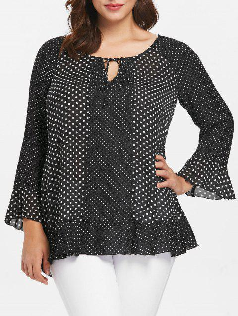 Tied Front Plus Size Polka Dot Blouse - BLACK L