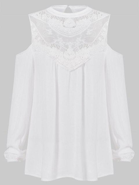 Open Shoulder Long Sleeve Lace Front Blouse - WHITE L