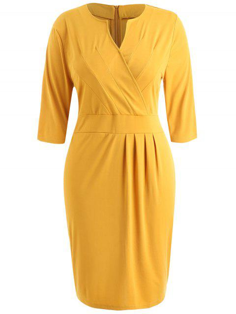 Plus Size Sheath V Neck Dress - BRIGHT YELLOW 2X