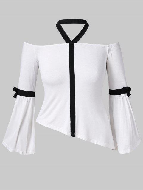 Flare Sleeve Plus Size Asymmetrical Top - WHITE 5X
