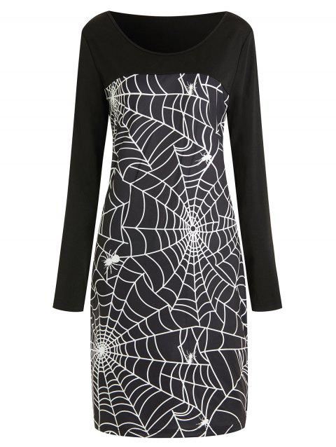 Halloween Plus Size Spider Web Print Bodycon Dress - BLACK 3X