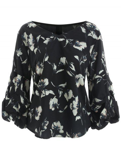 V Neck Plus Size Floral Print Blouse - BLACK 3X