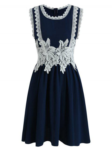 Round Neck Floral Applique A Line Dress - NAVY BLUE XL