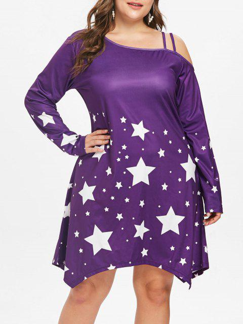 Plus Size Star Pattern Long Sleeve Dress - PURPLE IRIS 4X