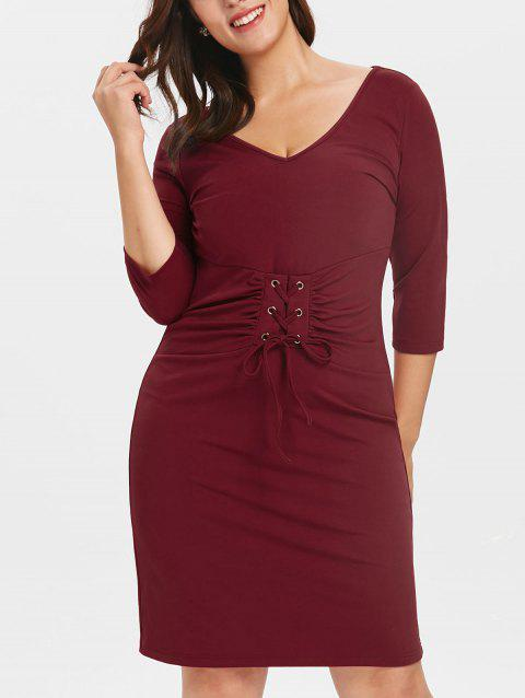 Plus Size Lacing Waist Tee Dress - RED WINE L