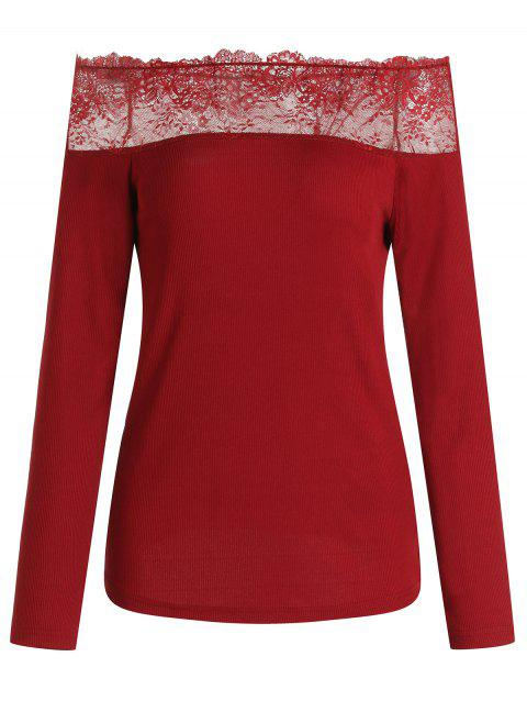 Off Shoulder Lace Panel Ribbed Knitwear - RED WINE M