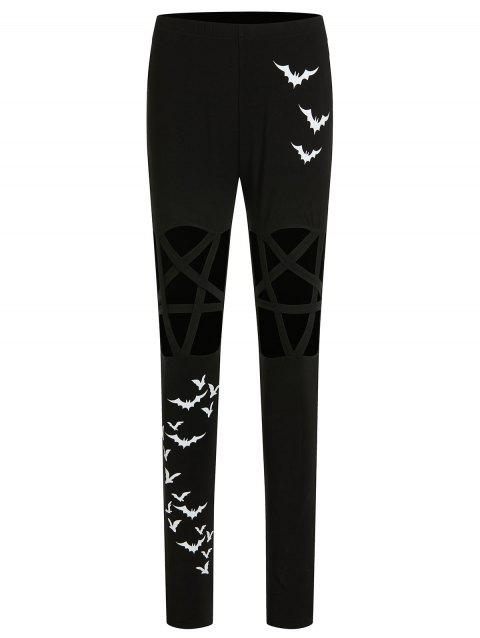 Bats Printed Halloween Leggings with Cut Out - BLACK 2XL
