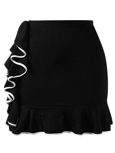 Plus Size Contrast Ruffles Mini Skirt - multicolor 2X