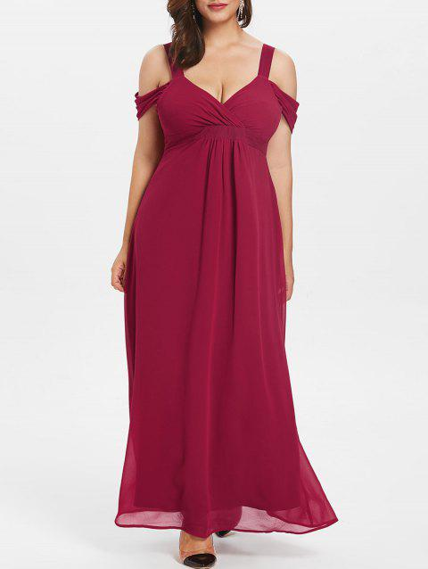 Sweetheart Neck Plus Size Empire Waist Maxi Dress - RED 5X