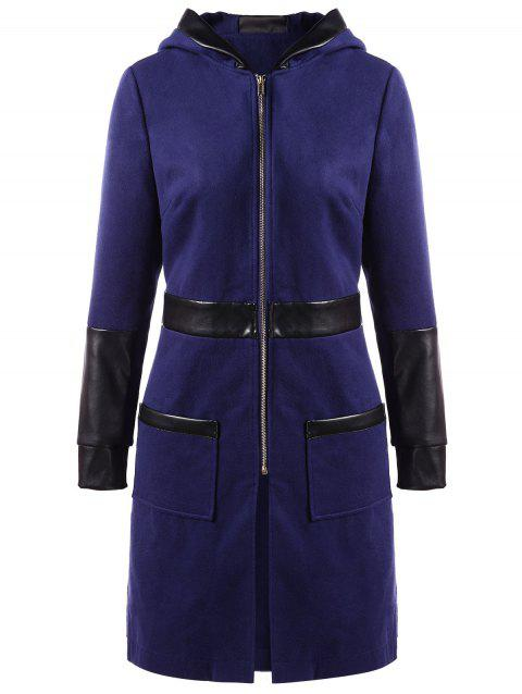 PU Leather Panel Zipper Hooded Coat - DEEP BLUE XL