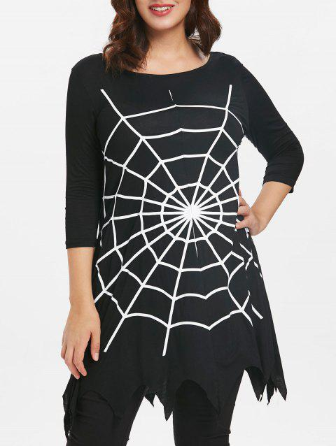 Halloween Plus Size Spider Web Tunic T-shirt - BLACK 3X