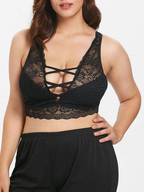 Plus Size Backless Lace Crop Tank Top - BLACK 5X