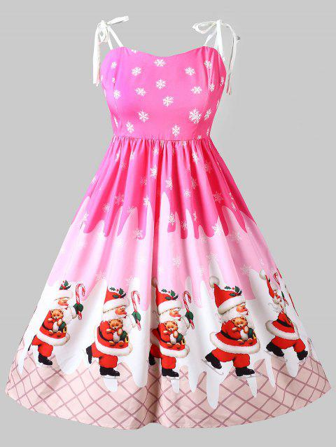 Christmas Santa Claus Print Pin Up Dress - HOT PINK 3X