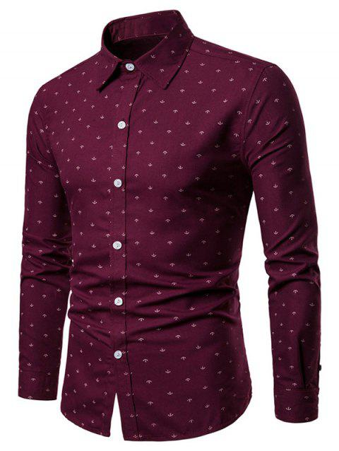 Ship Anchor Print Button Up Shirt - RED WINE L