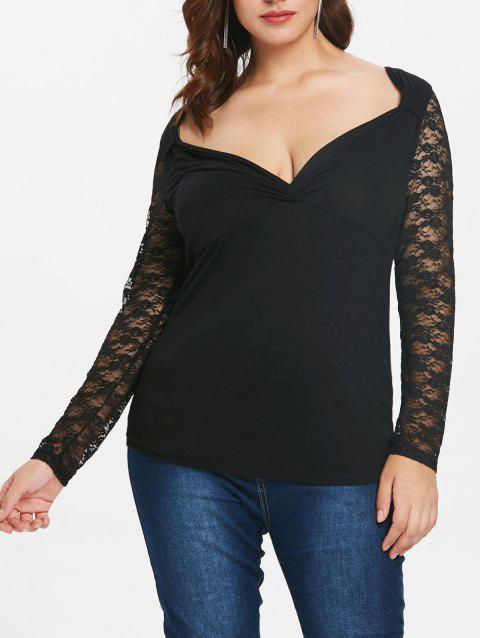 Plus Size Surplice Top with Lace Insert - BLACK 5X